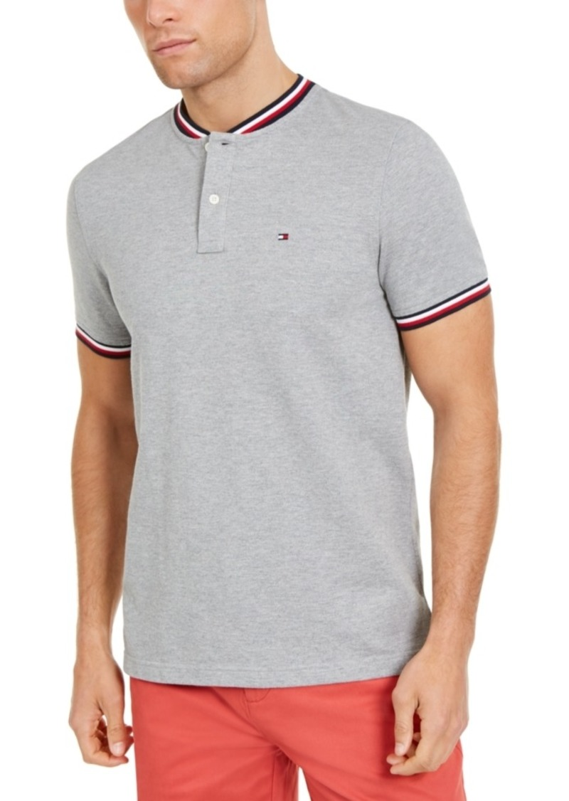 Tommy Hilfiger Men's Eaton Custom-Fit Tipped Collarless Polo Shirt