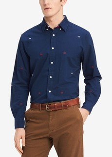 Tommy Hilfiger Men's Embroidered Logo Custom Fit Shirt, Created for Macy's