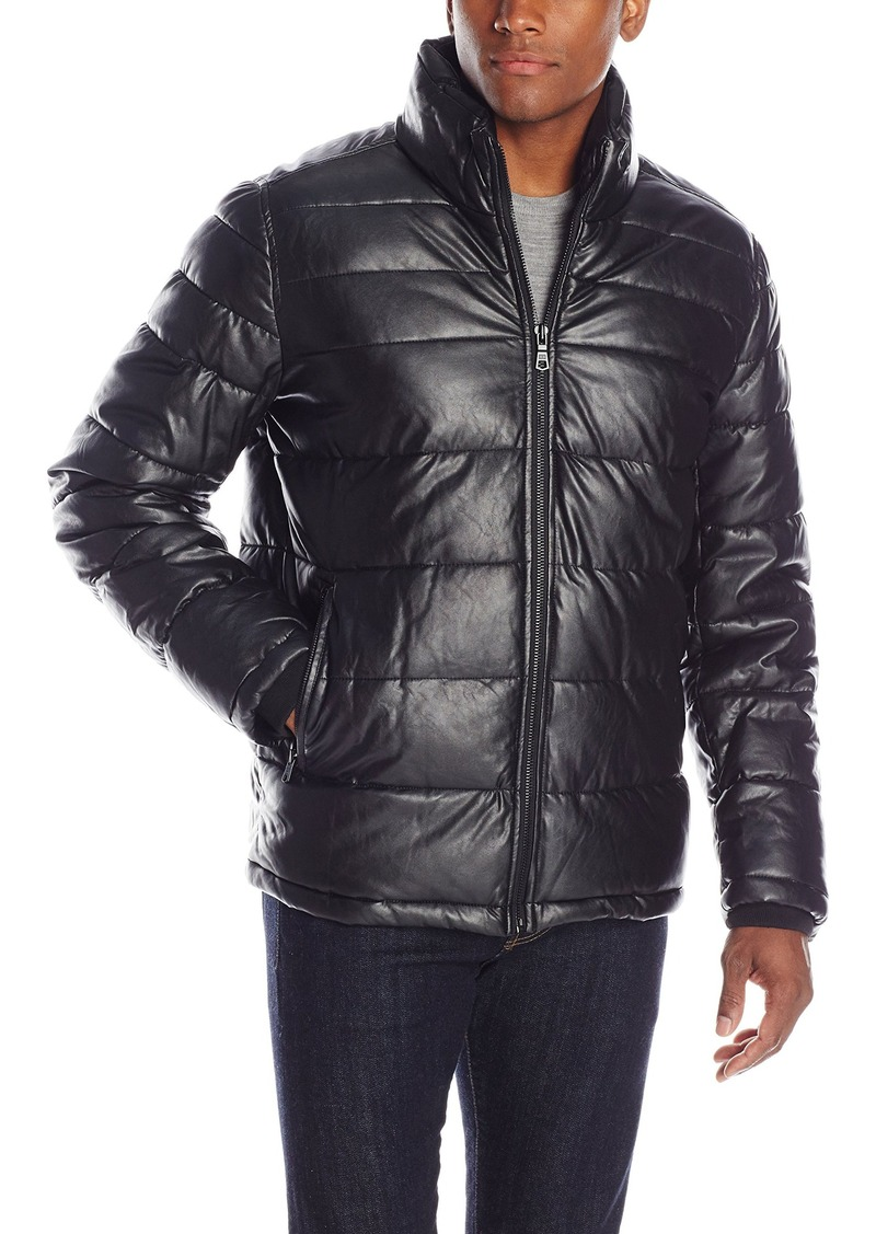 f0a55e9d6cb69 Tommy Hilfiger Tommy Hilfiger Men s Faux Leather Quilted Puffer ...