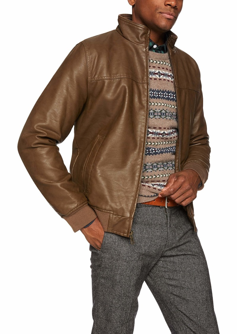 Tommy Hilfiger Mens Faux-Leather Bomber Jacket