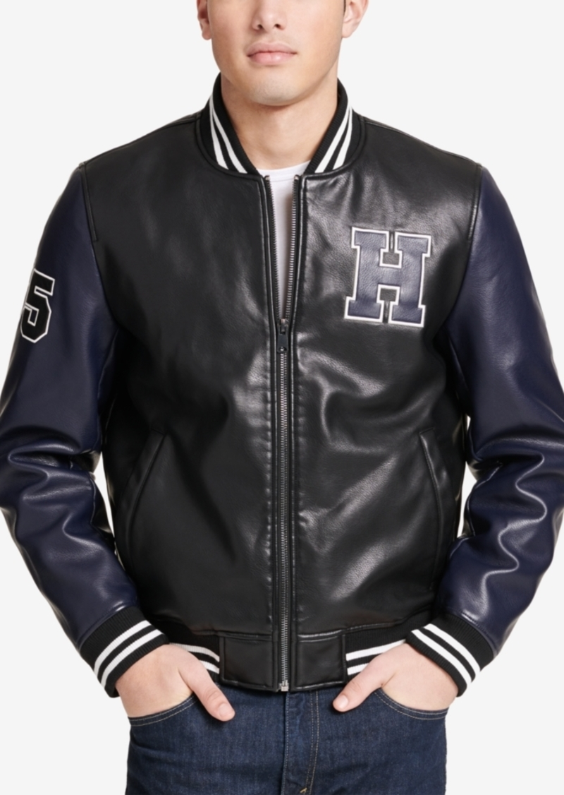 online shop durable modeling uk availability Tommy Hilfiger Tommy Hilfiger Men's Faux-Leather Varsity Jacket, Created  for Macy's | Outerwear