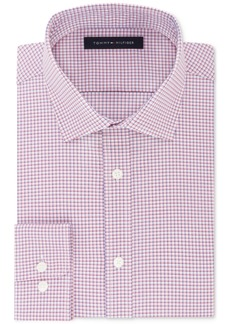 Tommy Hilfiger Men's Fitted Flex Stretch Performance Red Check Dress Shirt