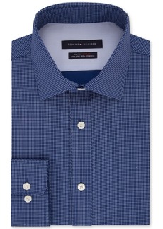 Tommy Hilfiger Men's Fitted Non-Iron Th Flex Performance Stretch Grid Dress Shirt