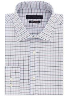 Tommy Hilfiger Men's Fitted Th Flex Collar Stretch Purple Check Dress Shirt