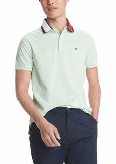 Tommy Hilfiger Men's Flag Pride Polo Shirt in Custom Fit Green ash Heather LG
