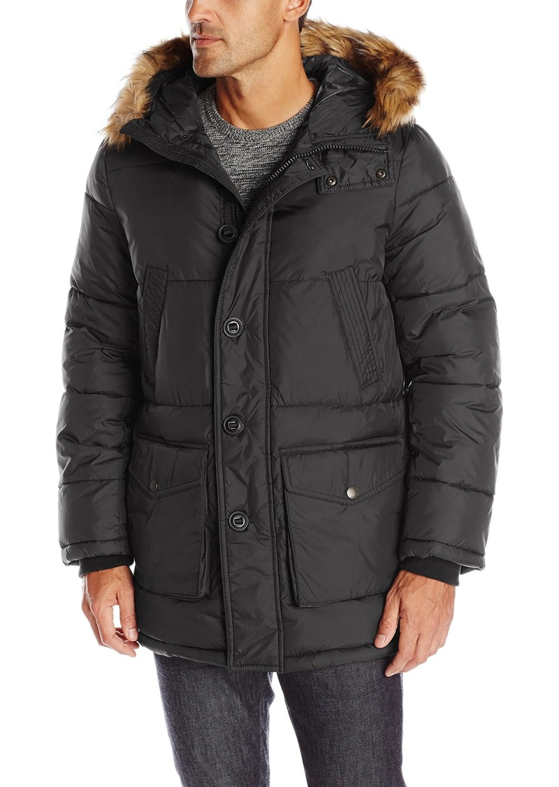 Tommy Hilfiger Men's Full Length Nylon Quilted Snorkel Coat with Removable Faux Fur Trimmed Hood  XXL