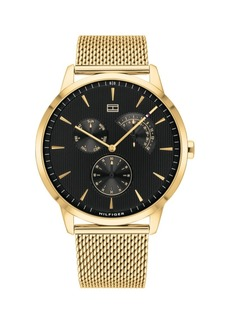 Tommy Hilfiger Mens Gold-Tone Stainless Steel Mesh Bracelet Watch 44mm, Created for Macys