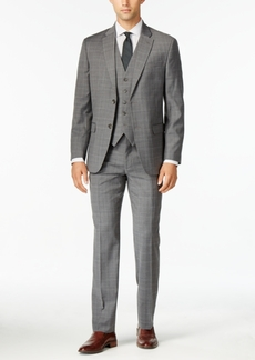 Tommy Hilfiger Men's Gray Tonal Plaid Vested Modern-Fit Stretch Performance Suit