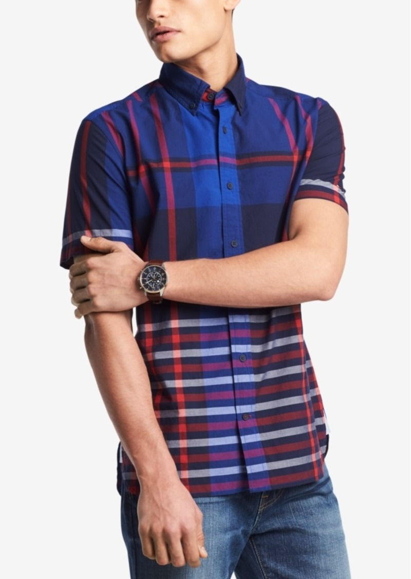 Tommy Hilfiger Tommy Hilfiger Mens Hill Plaid Custom Fit Shirt