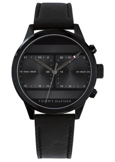 Tommy Hilfiger Men's Black Leather Strap Watch 40mm