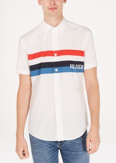 Tommy Hilfiger Men's Jerry Classic-Fit Stripe Logo Poplin Shirt