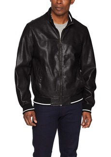 Tommy Hilfiger Men's Lamb Touch Faux Leather Bomber Jacket with Contrast Rib Knit black SMALL