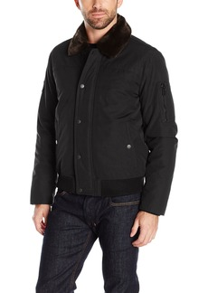 Tommy Hilfiger Men's Laydown Officer Jacket with Removable Pile Collar  S
