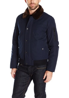 Tommy Hilfiger Men's Laydown Officer Jacket with Removable Pile Collar  L