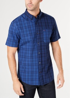 Tommy Hilfiger Men's Liam Classic-Fit Pieced Plaid Shirt, Created for Macy's