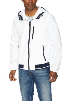 Tommy Hilfiger Men's Lightweight Boat House Hooded Bomber Jacket ice