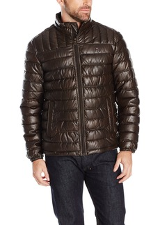 Tommy Hilfiger Men's Lightweight Quilted Faux Leather Puffer Jacket  S
