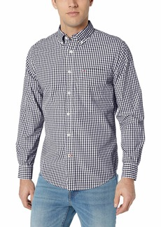 Tommy Hilfiger Men's Long Sleeve Button Down Shirt in Classic Fit Navy Blazer Gingham