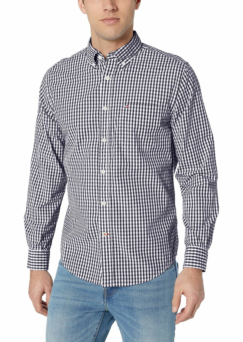 Tommy Hilfiger Men's Long Sleeve Button Down Shirt in Classic Fit  Gingham