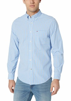 Tommy Hilfiger Men's Long Sleeve Button Down Shirt in Classic Fit Collection Blue Gingham 2X-Large