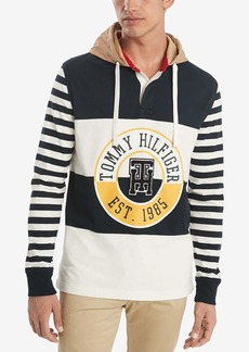Tommy Hilfiger Men's Long Sleeve Hooded Rugby Shirt SKYCAPTAIN/Snow White/Multi
