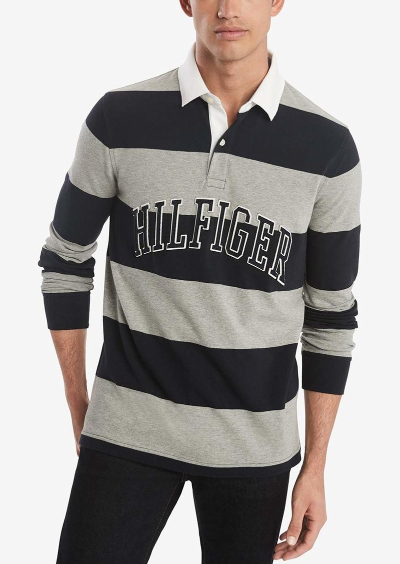 Tommy Hilfiger Men's Long Sleeve Rubgy Stripe Polo Shirt in Custom Fit