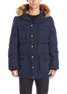Tommy Hilfiger Men's Micro Twill Full-Length Hooded Parka Coat  S