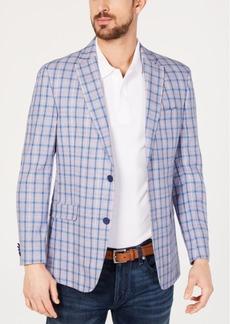 Tommy Hilfiger Men's Modern-Fit Blue & Red Windowpane Sport Coat