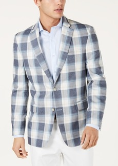 Tommy Hilfiger Men's Modern-Fit Blue/Cream Plaid Sport Coat