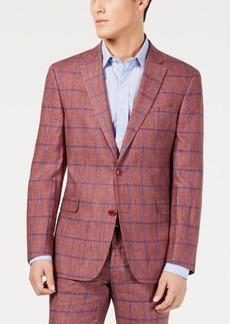 Tommy Hilfiger Men's Modern-Fit Brick/Blue Windowpane Suit Jacket