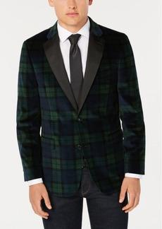 Tommy Hilfiger Men's Modern-Fit Green/Navy Velvet Sport Coat