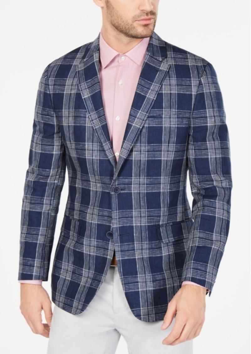 size 40 high fashion unique design Men's Modern-Fit Navy & White Plaid Linen Sport Coat