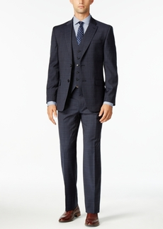 Tommy Hilfiger Men's Modern-Fit Navy and Gray Glen Plaid Vested Stretch Performance Suit
