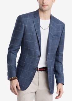 Tommy Hilfiger Men's Modern-Fit Navy/White Windowpane Linen Sport Coat