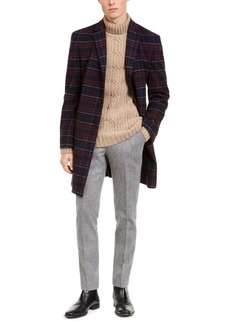 Tommy Hilfiger Men's Modern-Fit Performance Stretch Flex Plaid Addison Overcoat
