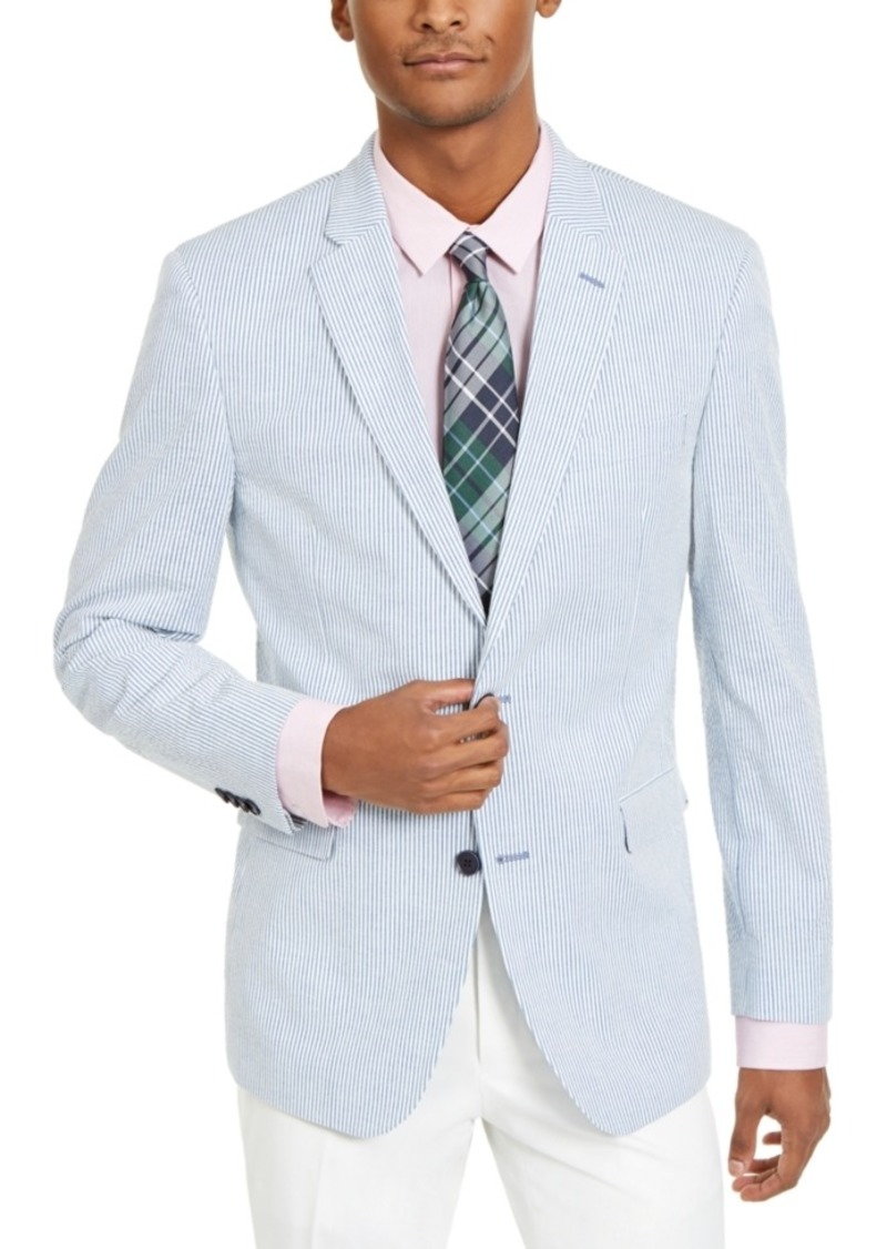 Tommy Hilfiger Men's Modern-Fit Stretch Blue/White Seersucker Stripe Sport Coat