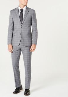 Tommy Hilfiger Men's Modern-Fit Th Flex Stretch Gray/Blue Plaid Suit