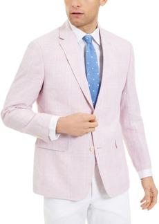 Tommy Hilfiger Men's Modern-Fit Th Flex Stretch Pink/Blue Windowpane Plaid Sport Coat