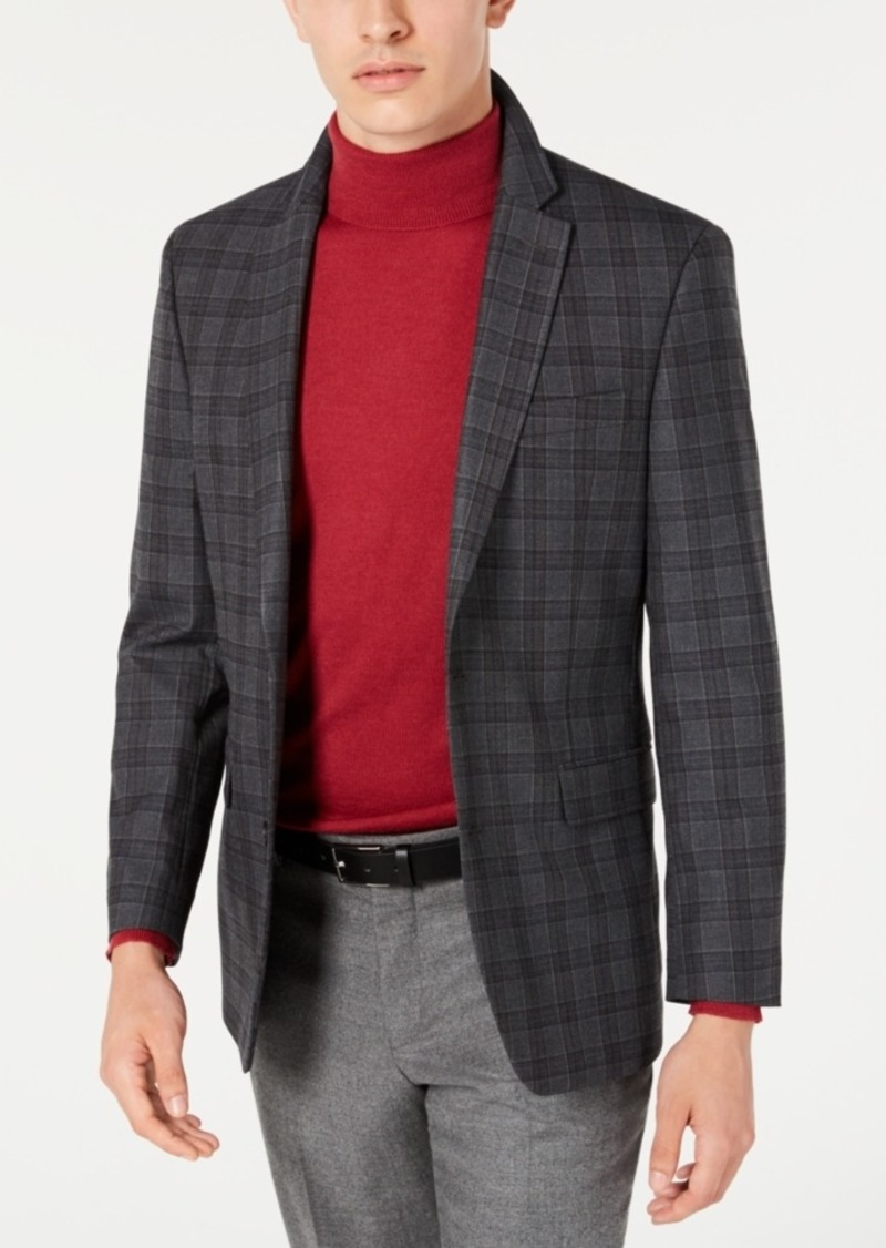 Tommy Hilfiger Men's Modern-Fit THFlex Stretch Gray/Brown Plaid Sport Coat