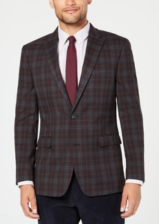 Tommy Hilfiger Men's Modern-Fit THFlex Stretch Gray/Burgundy Plaid Sport Coat