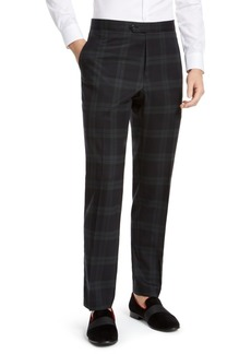 Tommy Hilfiger Men's Modern-Fit THFlex Stretch Green/Navy Blue Plaid Suit Pants