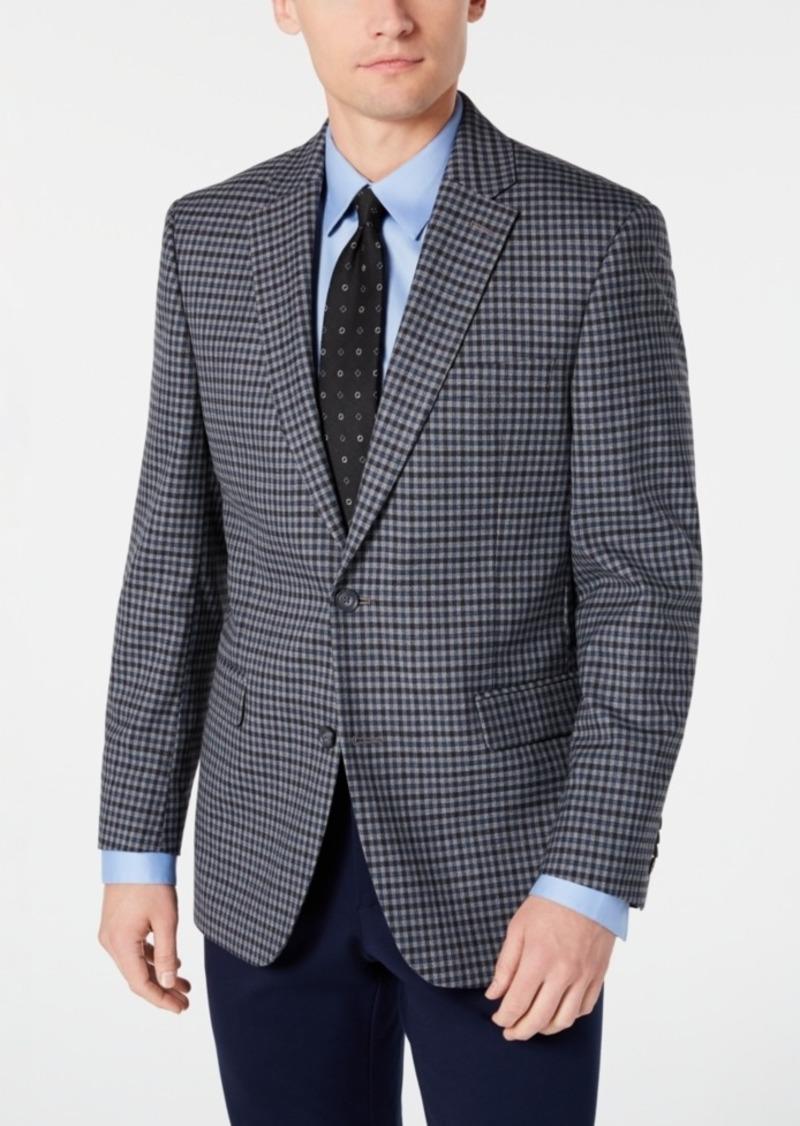 Tommy Hilfiger Men's Modern-Fit THFlex Stretch Light Gray/Blue Check Sport Coat