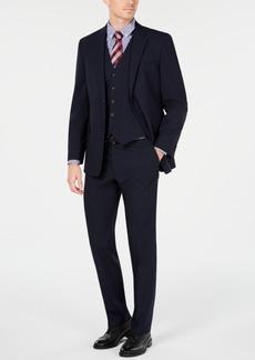 Tommy Hilfiger Men's Modern-Fit THFlex Stretch Navy Mini-Grid Vested Suit