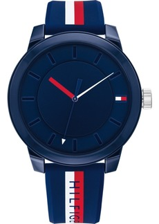 Tommy Hilfiger Men's Multicolor Striped Silicone Strap Watch 44mm, Created for Macy's