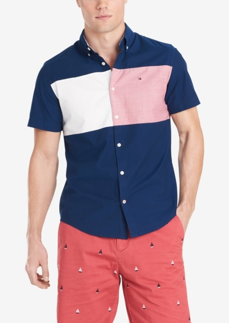 Tommy Hilfiger Men's Big and Tall Nathan Stretch Colorblocked Oxford Shirt