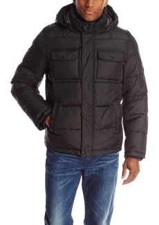 Tommy Hilfiger Men's Nylon Two Pocket Hoody Puffer  X-Large