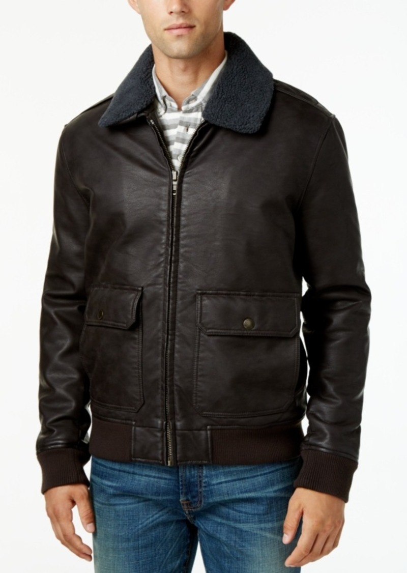 2f55153f9 Men's Removable Faux Sherpa-Collar Faux-Leather Bomber Jacket