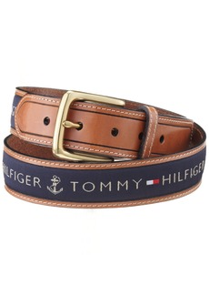 Tommy Hilfiger Men's Ribbon Inlay Belt (Regular Sizes & Big and Tall)