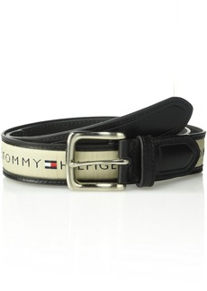 Tommy Hilfiger Men's Ribbon Inlay Belt black/natural