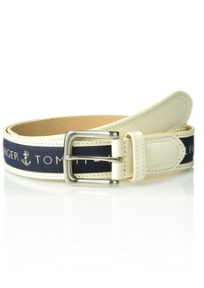 Tommy Hilfiger Men's Ribbon Inlay Belt cream/medium navy